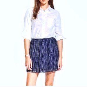 Madewell Navy Pleated Polka Dot Mini Skirt